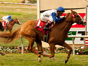 Up In Time wins the San Clemente Stakes.