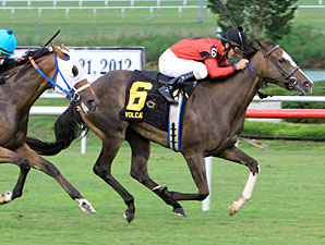Volcat wins the 2012 Virginia Oaks.