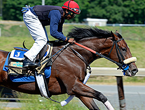 Wicked Strong works at Belmont Park June 1.