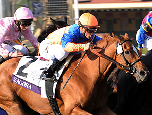 Zagora wins the 2012 Breeders' Cup Filly & Mare Turf.