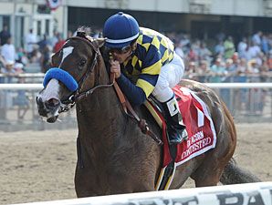 Contested wins The Acorn Stakes.